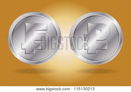 Symbols of Franc and Ruble currencies.