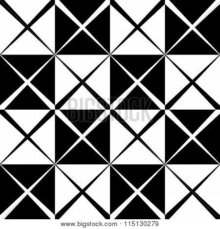Seamless Monochrome Pattern With X Shape, Intersecting, Crossing Lines. Repeatable Abstract Backgrou