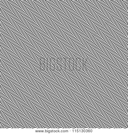 Slanting Wavy (zigzag) Lines. Abstract Monochrome Pattern, Background. Seamlessly Repeatable At Edge