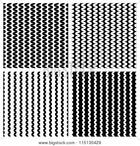Zig Zag, Wavy Lines Seamless Monochrome Pattern.