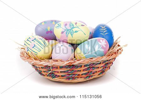 Colorful Easter Eggs And Basket