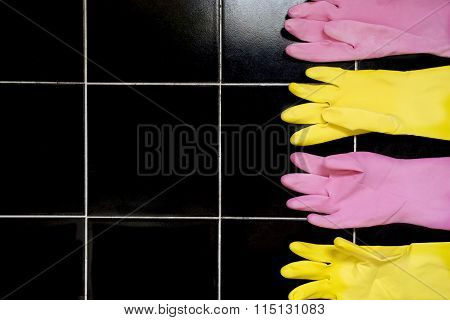 Latex Cleaning Gloves On Tile Floor