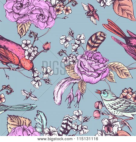 Hand Drawn Spring Seamless Pattern