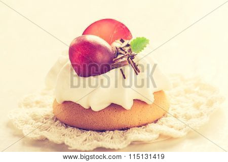 Vintage Photo Of Small Biscuits With Fruits And Whipped Cream