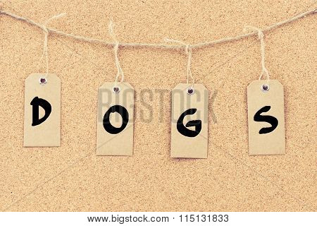 Vintage Grunge Tags With Word Dogs