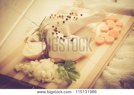 Vintage Photo Of Raw Chicken Legs With Spices