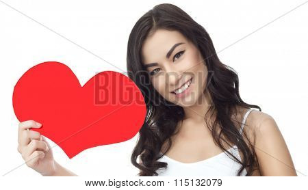 portrait of attractive  asian smiling woman isolated on white studio shot red heart valentine's love