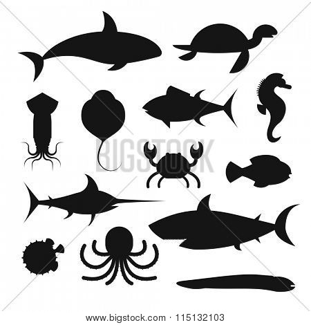 Vector black icons set of sea marine fish and animals. Shark, squid, octopus, sawfish, hedgehog, saw, crab, dolphin, killer whale, whale, clownfish, sea horse, turtle, stingray, moray. Sea wild fish
