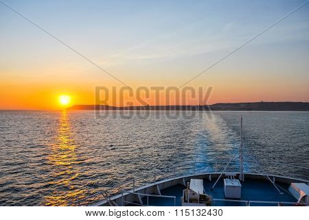 Beautiful Sunset From The Ship