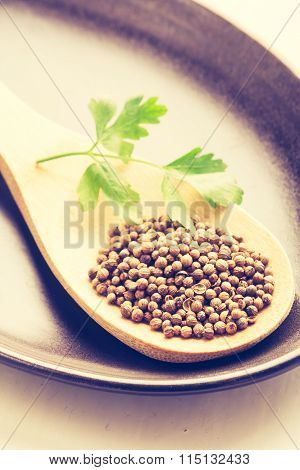 Vintage Photo Of Coriander Seeds On Wooden Spoon