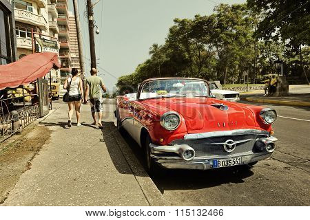 CUBA, HAVANA-JUNE 27, 2015: Classic american car on a street in Havana. Cubans use the retro cars as