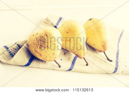 Vintage Photo Of Ripe Pears On The Cloth