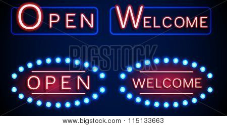 Neon shining signboard with word