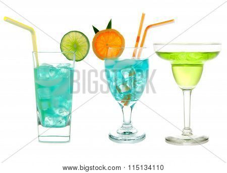 Three Green Blue Hawaiian Cosmopolitan Mojito Tropical Cocktail Drinks