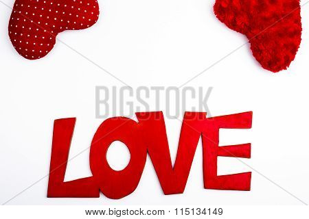 Red Text Font Love Lettering With Hearts
