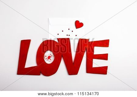 Red Text Font Love Lettering With Hearts And Envelope
