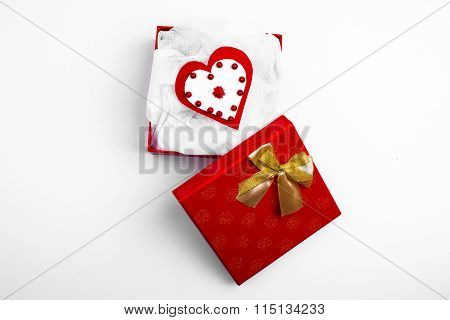 Open Red Box With Valentine's Heart On White Background