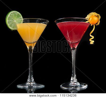 Two Cocktails Cosmopolitan Cocktails Decorated With Citrus Lemon Twist Yellow Martini