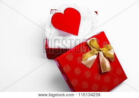 Open Red Box With Valentine Heart On White Background