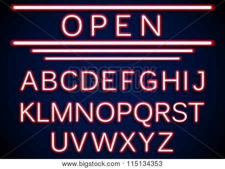 Set retro neon open signs background