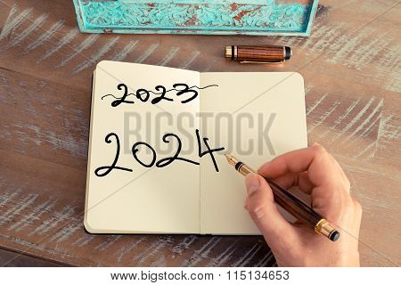 Handwritten Text Happy New Year 2024