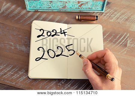 Handwritten Text Happy New Year 2025