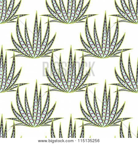 Agave succulent desert seamless pattern.