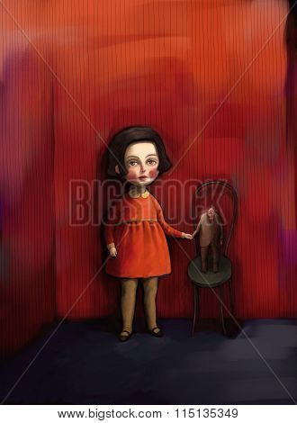 Age significance illustration - a big girl and a small old man on red background