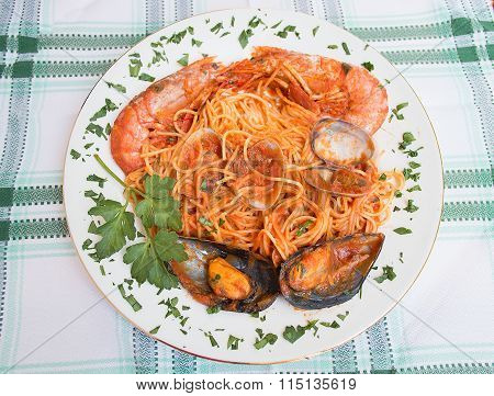 Plate Of Tagliolini With Shellfish And Tomato Sauce