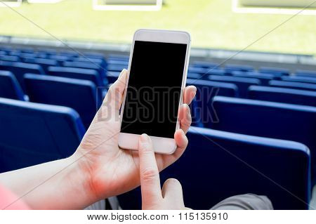 Using Smartphone In The Football Stadium