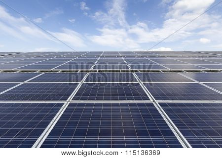 Blue Photovoltaic Solar Panels On Roof ,clean Energy