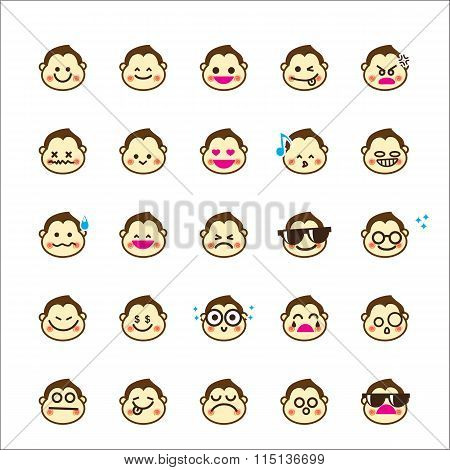 Collection Of Difference Emoticon Monkey Cartoon On White Background