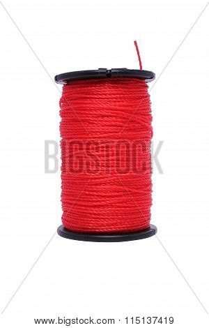Red Nylon Ropes Isolated On White Background.