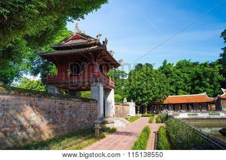 A view of the temple of Literature in Hanoi, Vietnam.