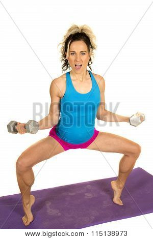 Woman Blue Tank And Pink Shorts Fitness Toe Squat Mouth Open