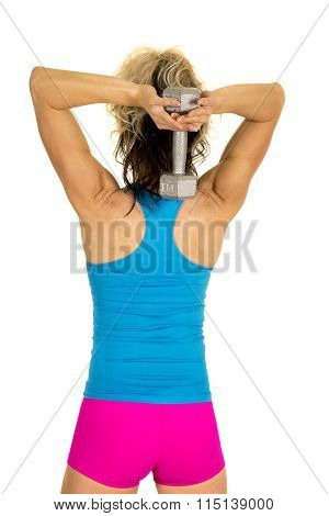 Woman Blue Tank And Pink Shorts Fitness Tricep Extension Back