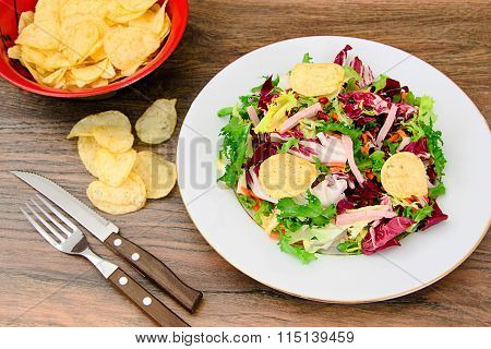 Salad with Potato Chips, Cheese
