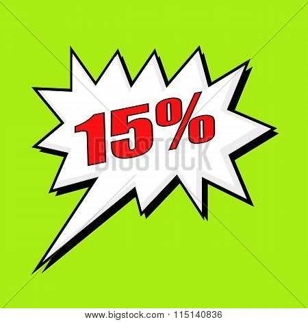 15 Percent Wording Speech Bubble