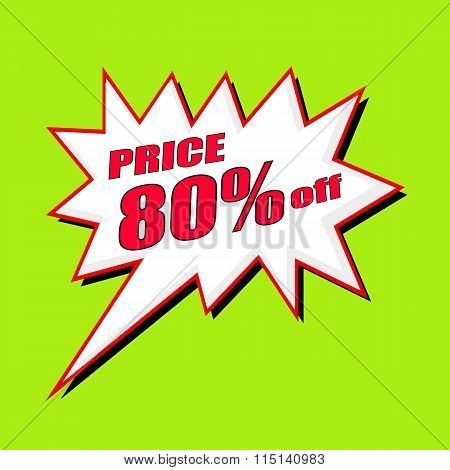 Price 80 Percent Wording Speech Bubble