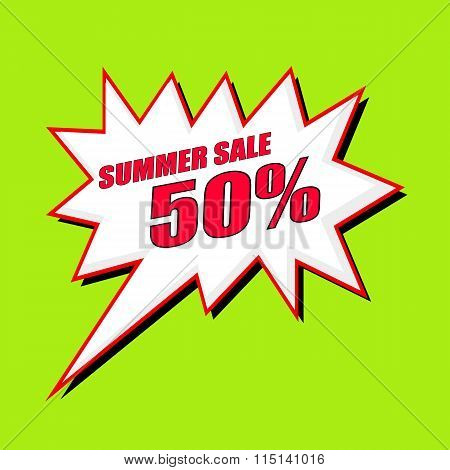Summer Sale 50 Percent Wording Speech Bubble