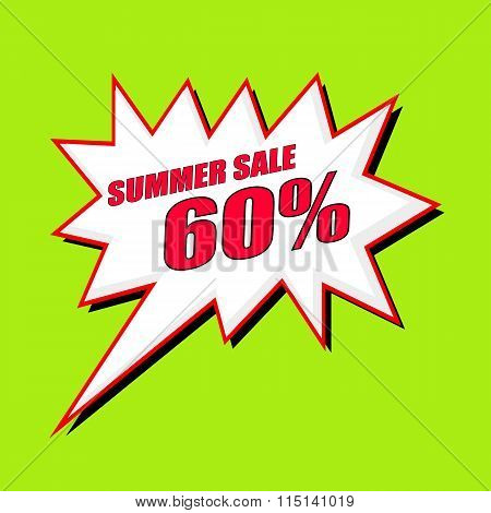 Summer Sale 60 Percent Wording Speech Bubble