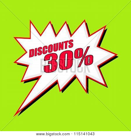 Discounts 30 Percent Wording Speech Bubble