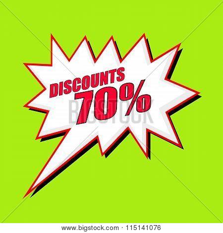 Discounts 70 Percent Wording Speech Bubble