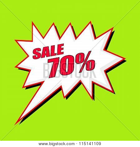 Sale 70 Percent Wording Speech Bubble