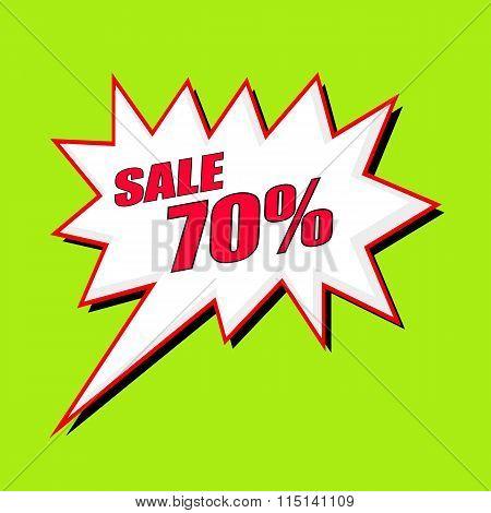 Sale 70 Percent Wording Speech Bubble