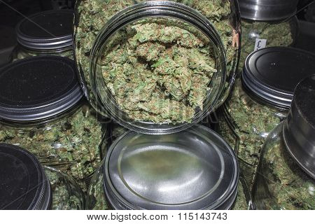Open Marijuana Jar Revealing Green Buds