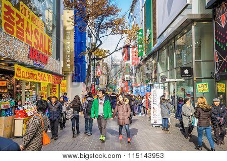 Myeong-dong Shopping Street In Seoul, South Korea