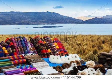 market clothing and souvenirs on the mountain pass