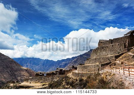 Inca old fortress in the mountains