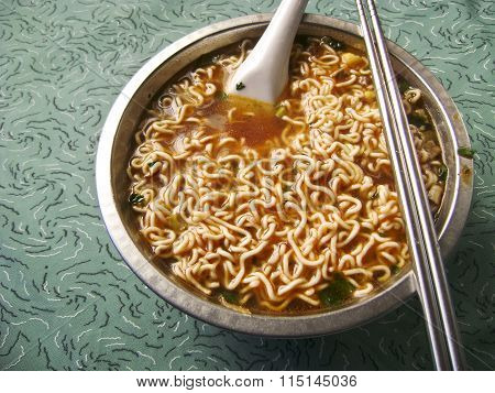 Asian spicy instant noodle soup